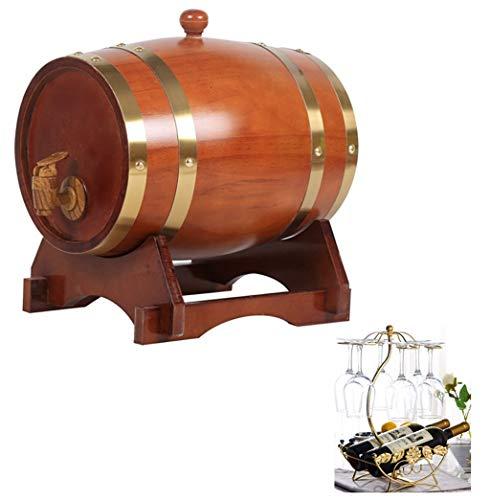 MAGFYLY Eiken vat Houten vat Eiken Wijnvat Rode Wijnvat Met Ingebouwde Folie Gewatteerde Kraan voor Bar Decoratie of Opslag van Bier, Cocktails, Rode Wijn, Brandy, Tequila (1.5L)