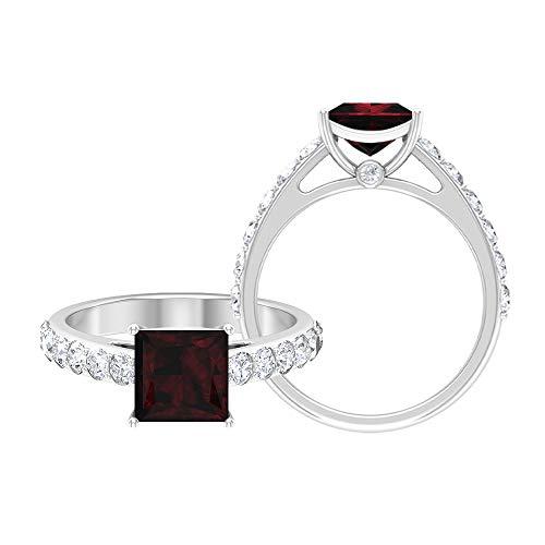 Anillo de corte princesa, anillo solitario con piedras laterales, anillos de compromiso para mujer 14K Oro blanco