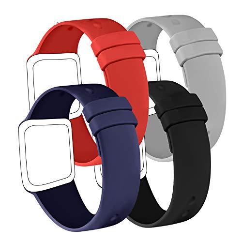 AK Confezione 4 Cinturino Compatibile per Apple Watch Cinturino 44 mm 38 mm 42 mm 40 mm, Cinturino in Silicone Morbido per Apple Watch Series 5 4 3 2 1 (42 44mm S M, Nero Blu Navy Grigio Rosso)