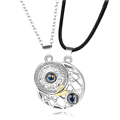 Collar de La Pareja de Guardián del Sol Y La Luna, 100 Idiomas I Love You Proyection Collar Magnético de Guardián Cumpleaños Navidad Día de San Valentín Regalo para Mujeres Y Hombres Plata