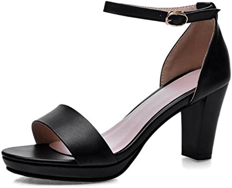 Dahanyi Stylish Big Size 34-43 2018 Fashion Thick High Heels Open Toe Woman Sandals PU Leather Black Red shoes Woman