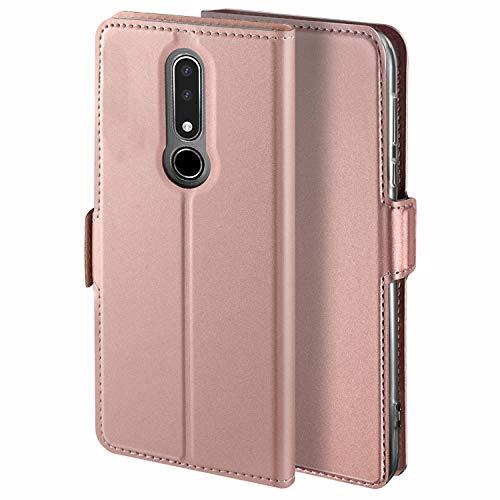 YATWIN Handyhülle für Nokia 3.1 Plus Hülle Leder Premium Tasche Hülle für Nokia 3.1 Plus, Schutzhüllen aus Klappetui mit Kreditkartenhaltern, Ständer, Magnetverschluss, Rose Gold