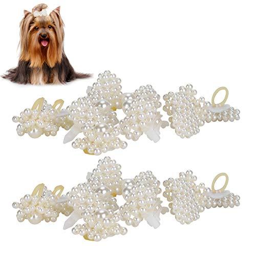 20 Piezas de Lazos para el Pelo de Perro, Lazos para el Pelo Hechos a Mano con Perlas para Mascotas Lazos encantadores para Mascotas Accesorios para la Cabeza para Mascotas Perros Cachorros Ga