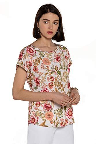 NAULOVER - Camiseta para Mujer de Punto Estampada con Motivos Florales.
