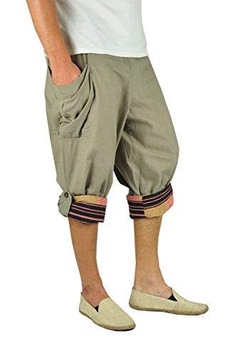 virblatt - Pantalones Cortos Hombre   100% algodón   Pantalones Hippies Bermudas Hombre Pantalon Bombacho Alternativo Verano - Großzügig Tank