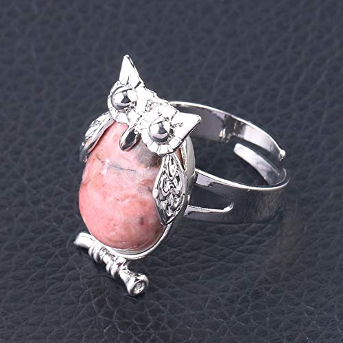 adjustable ring for women,Silver owl animal inlaid oval natural Line Rhodonite Reiki stones charm Adjustable Open Knuckle Tail Ring Finger Joint Toe Ring Jewelry for Women Girls Gift Wedding engagem