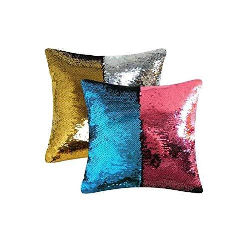Gwill 2 fundas de almohada de sirena mágica de 40,64 x 40,64 cm, reversibles con lentejuelas que cambian de color, divertido regalo para niños