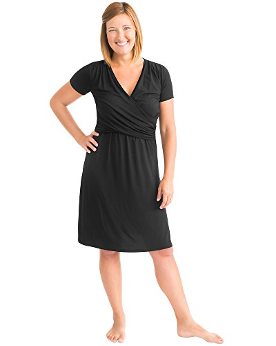 Kindred Bravely Angelina Ultra Soft Maternity & Nursing Nightgown Dress (Black, Medium)