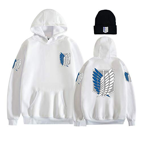 first123 Attack On Titans Recon Corps Logo Sudadera con Capucha Attack On Titan Logos Knit Beanies Set Sweater Pullover para Hombres Mujeres