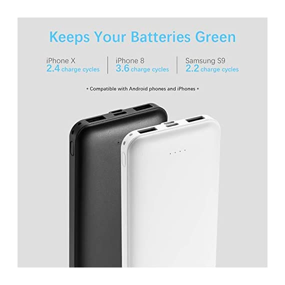 Miady 10000mAh Dual USB Portable Charger Power Bank 2 【3-Pack 10000mAh Power Bank】Three 10000mAh battery packs not only for portable charging but also around the home. Allowing you charge mobile devices without having to be tethered to a plug socket. Each of them fully charges 2.4 times for iPhone X, 3.6 times for iPhone 8 and 2.2 times for Samsung Galaxy S9. 【Dual Output & Input】Each has 2 USB output ports that detect all the connected devices and efficiently distributes the current output up to 5V 2.1A. The USB C and Micro USB ports can fully refill the battery itself in 5 hrs at 5V 2.0A. 【Reliable Li-polymer Cell】Thanks to the Li-polymer battery pack, the charger is much safer than any Li-ion charger. Also, it's lighter and slimer that you can easily carry it around, even on airplanes.