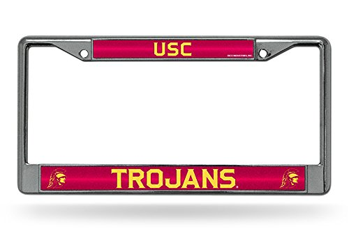 NCAA Rico Industries  Bling Chrome License Plate Frame with Glitter Accent, USC Trojans