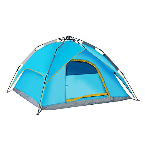 Easy Set Up Instant Pop Up Camping Tents for 2-3 Person Family, Dome Waterproof Windproof Sun Shelters Backpacking Tents Quick Set up for Camping Hiking Outdoor Activities (Blue)
