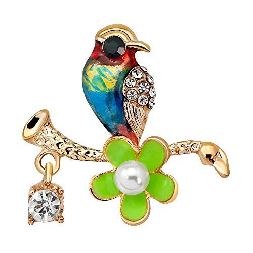 pulabo 丈夫で安いです 女性のエナメル花鳥ラインストーン象眼細工ペンダントブローチ服ジュエリーアクセサリー