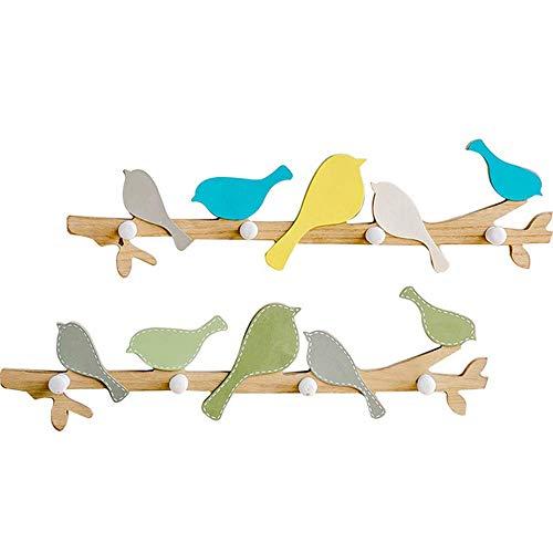 HUIHUAN Holz Haken dekorative Holz Wandhalterung 4 Haken Speicherorganisator Rack für Mäntel, Hoodies, Hüte, Schals, Geldbörsen, Leinen, Badetücher und Bademäntel - 2er Pack