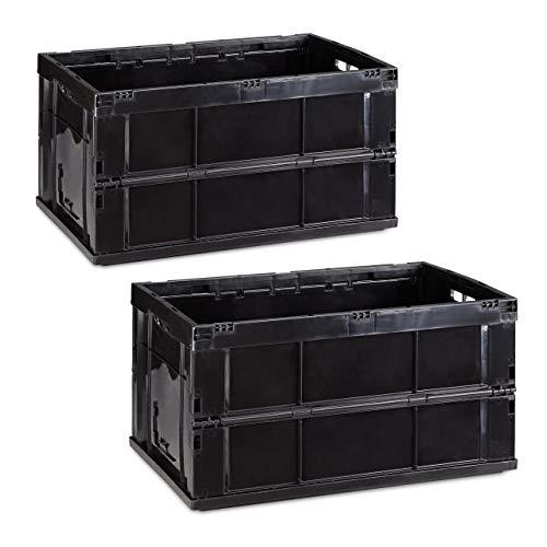 Relaxdays 2X Professionelle Transportbox, stabile Klappboxen, Gewerbe, hochwertiger Kunststoff, Qualität, 60 Liter, schwarz