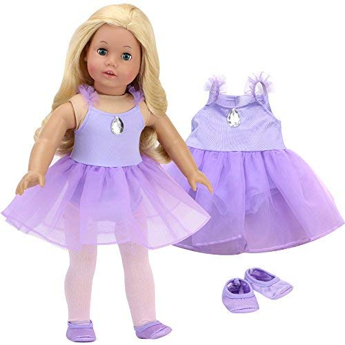 Sophia's 18 Inch Doll Ballet Outfit Lavender Ballet Leotard with Attached Skirt and Satin Ballet Slippers| Doll Sold Separately