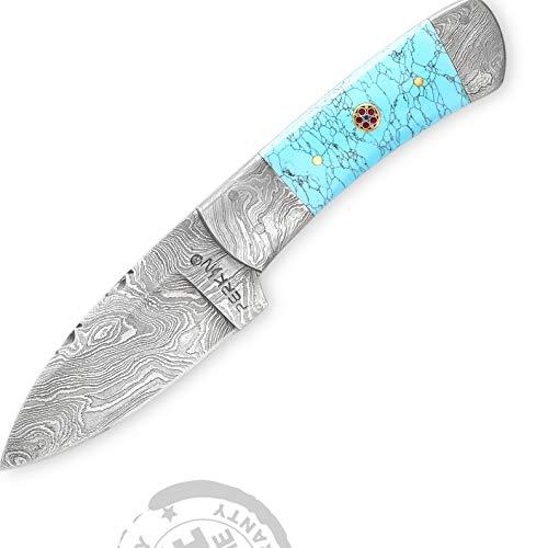 Perkin Damastmesser Jagdmesser Handgemachtes Damast Jagdmesser 19,3 cm- türkis Griff