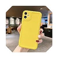 For iPhone 12 11 ProMaxミニケースシリコンフォトフレームFundasFor iPhone SE 2020 7 8 XR XS X 6 6sPlusソフトバックカバーバンパー用-Yellow1-For iPhone 12Pro Max