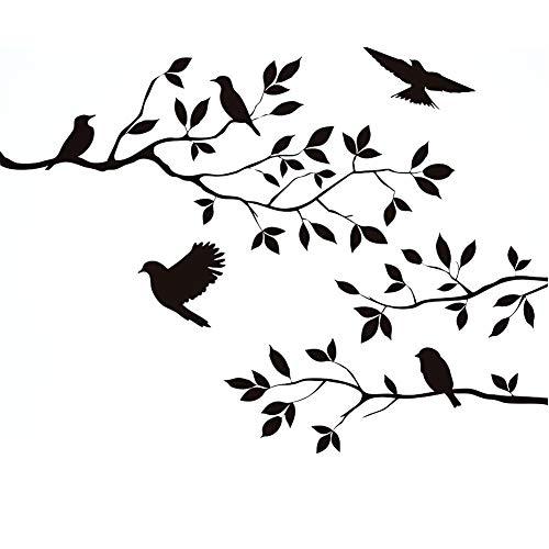 Wandtattoo Blumen Baum Vögel Schwarz für Zuhause Raumdekoration