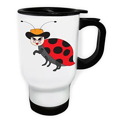 INNOGLEN Cute Lady Bug Nouveau Funny Smile Art Tasse de Voyage Thermique Blanche 14oz 400ml e173tw
