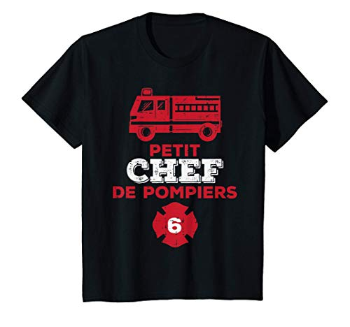 Enfant Chef de Pompiers 6ans Humour Anniversaire Garçon Cadeau T-Shirt