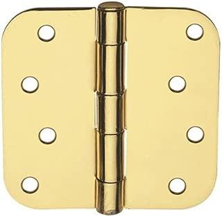 Global Door Controls 4 in. x 4 in. Satin Brass Plain Bearing Steel Hinge with 5/8 in. Radius - Set of 2