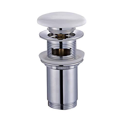 Kibath 215171 - Válvula Clic Clac de Porcelana Blanca, Universal, Compatible con La Mayoría de Lavabos, Fabricada En Latón, Cromo Brillo, Talla Única (6.6 x 6.6 x 15 cm)