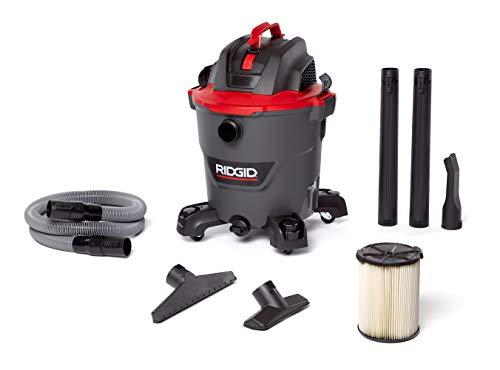 RIDGID 62703 12 Gallon RT1200 NXT WET/DRY VAC, RT1200, 5.0 HP, Casters, Locking Hose, Dark Gray and Red