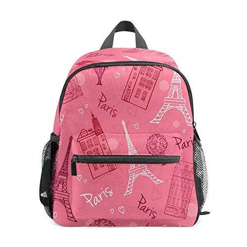 Mochila infantil para niños de 1 a 6 años de edad, mochila perfecta para niños y niñas de color rosa, diseño de torre Eiffel