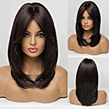 HAIRCUBE Long Dark Brown Wigs for Women, Synthetic Hair Wig with Bangs for Daily Use