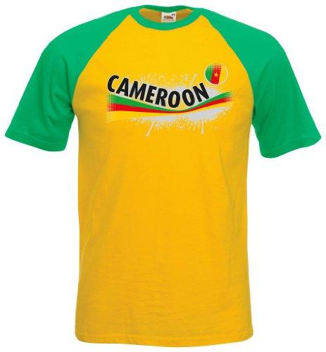 Fruit of the Loom Kamerun Herren T-Shirt Cameroon Baseball Vintage Shirt L