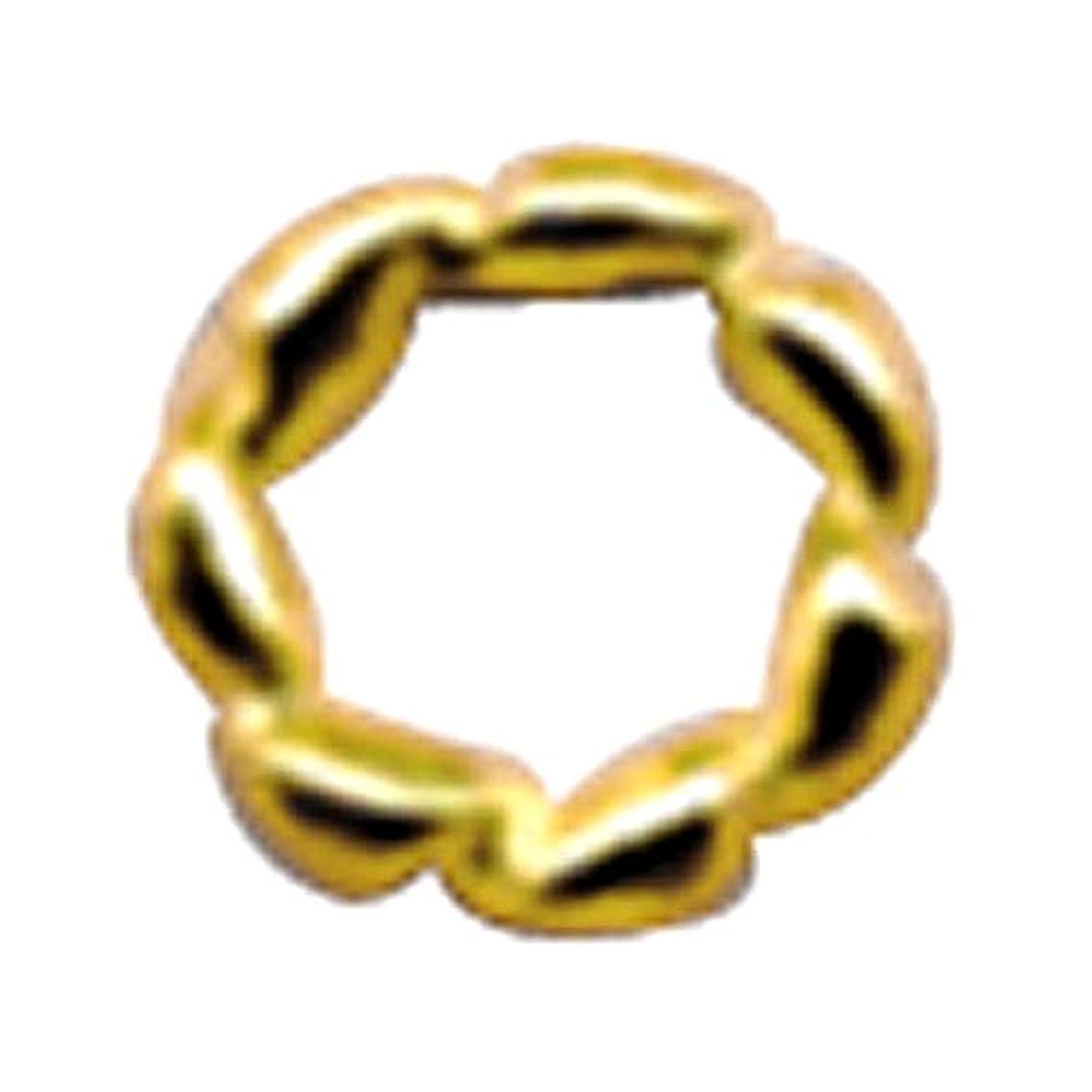 バング変更干渉プリティーネイル ネイルアートパーツ ツイストリングL ゴールド 10個
