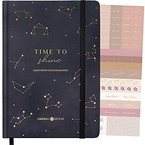 """Schülerkalender A5 """"STELLAR"""" OHNE DATUM Lebenskompass® - Schöner Schülerplaner mit vielen Extras - Schule Terminplaner Kalender für Schüler undatiert"""