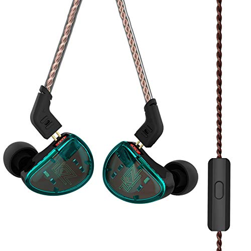 in Ear Headphones, KZ AS10 Five Balanced Aramature Extra Bass Universal-Fit Earphones Compatible(Cyan with Mic)