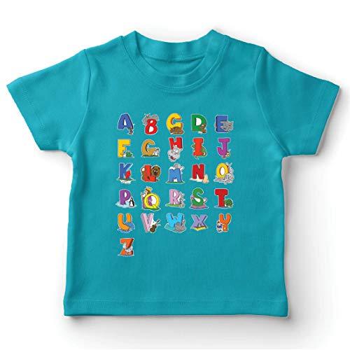 lepni.me Kinder Jungen/Mädchen T-Shirt Das Alphabet, ABC Lied, Geschenke für Kinder (7-8 Years Hellblau Mehrfarben)