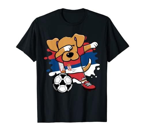 Serbischer Fußball-Fan-Trikot mit lustigem Dabbing Dog Serbien T-Shirt