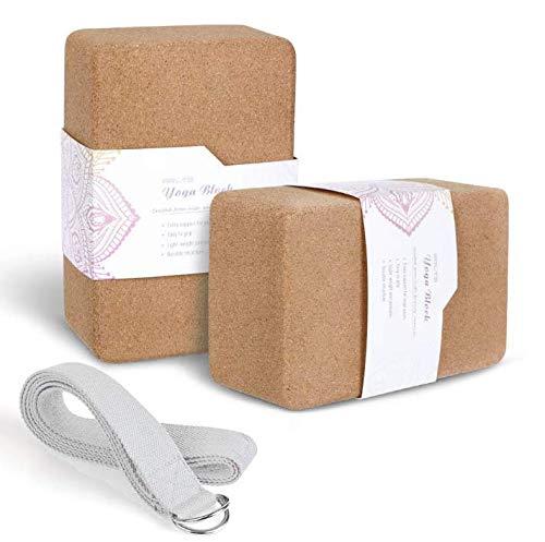 Hautest Health Cork Yoga Blocks 2 Pack with Strap Non