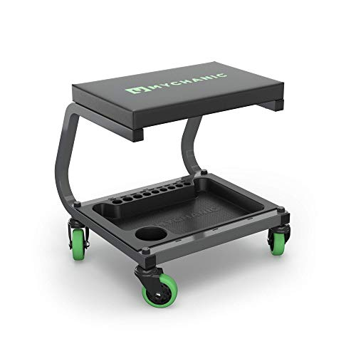 MYCHANIC Fastback Shop Stool - Rolling Garage Stool - 350 Lb Capacity - 3-Inch Casters - Tool Tray with Socket Organizer - Padded Seat - Powder Coated Steel Frame