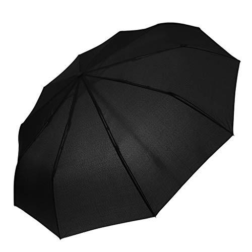 IPOTCH Schirm Regenschirm Sturmfest Unisex Kompaktschirme Auf-Zu Automatik Regenschirm Taschenregenschirm für Regen - Schwarz