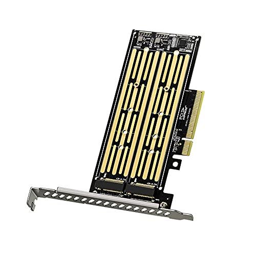 Tarjeta Vertical M.2 M.2 NVME a PCI-E X8 Tarjeta de expansión de Adaptador SSD de Disco Duro de Doble Disco para Placa Base con Ranura PCIE X8 X16K