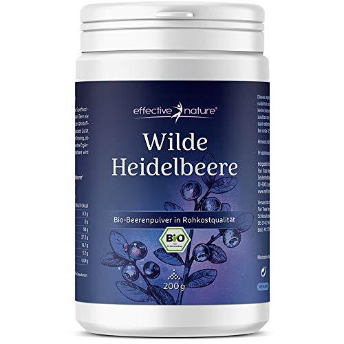 effective nature Wilde Heidelbeere – Bio-Fruchtpulver in Rohkostqualität, Reich an Antioxidantien, Vielseitig einsetzbar, Intensiver Geschmack, 200 g