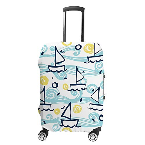 Funda para maleta CHEHONG con diseño de barcos marinos azules, funda protectora...