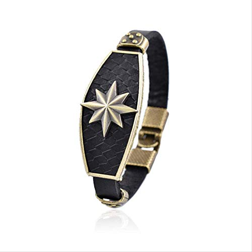 New Fashhion Punk Casual Lederarmband Herren Charm Achtzackige Star Jewelry Male Rope Chain 17cm