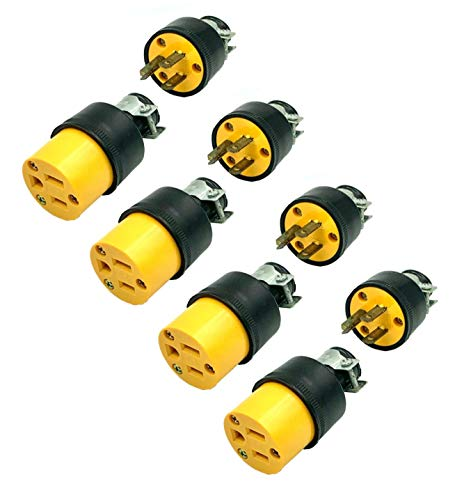 BRUFER 310320-03 Heavy Duty Male and Female Extension Cord Replacement Plugs 3-Prong 125V 15A - 3 Wire Replacement Male and Female Electrical Plug Sets - Bulk Pack of 4 Sets
