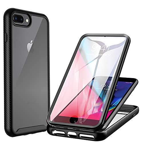 CENHUFO Cover iPhone 8 Plus/ 7 Plus/ 6S Plus/6 Plus Antiurto Custodia iPhone 8 Plus/ 7 Plus/ 6S Plus/6 Plus, con Protezione dello Schermo Integrata,360 gradi Rugged Armor Trasparente Bumper Case, Nero