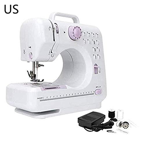 Abcidubxc - Máquina de coser portátil, mini máquina de coser, máquina de coser a mano, 12 polos incorporados, 2 marchas de dos hilos, hogar multifunción
