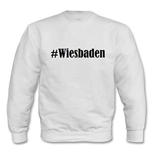 Reifen-Markt Sweatshirt Damen #Wiesbaden Größe L Farbe Weiss Druck Schwarz