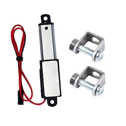 Hotaden Micro Impermeable actuador Lineal Mini eléctrico con Soportes de Montaje 12V 60N Longitud de Carrera de 50 mm 15 mm Velocidad