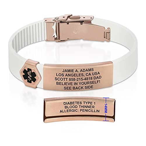 Divoti Sport ID Medical Alert Bracelet – Personalized Medical ID Bracelet – Trim-to-Fit Adjustable Soft White Silicone Band w/Security Clasp & Dual-Side Engraving - Ultra PVD Rose Gold - Black
