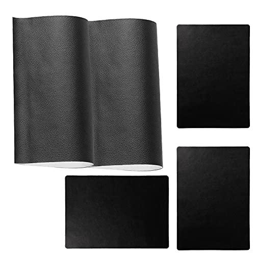 Set di 6 toppe autoadesive in pelle per riparare la pelle, autoadesive, per la riparazione dei sedili dell'auto, per giacche del divano, zaino (30 × 20 cm, nero)